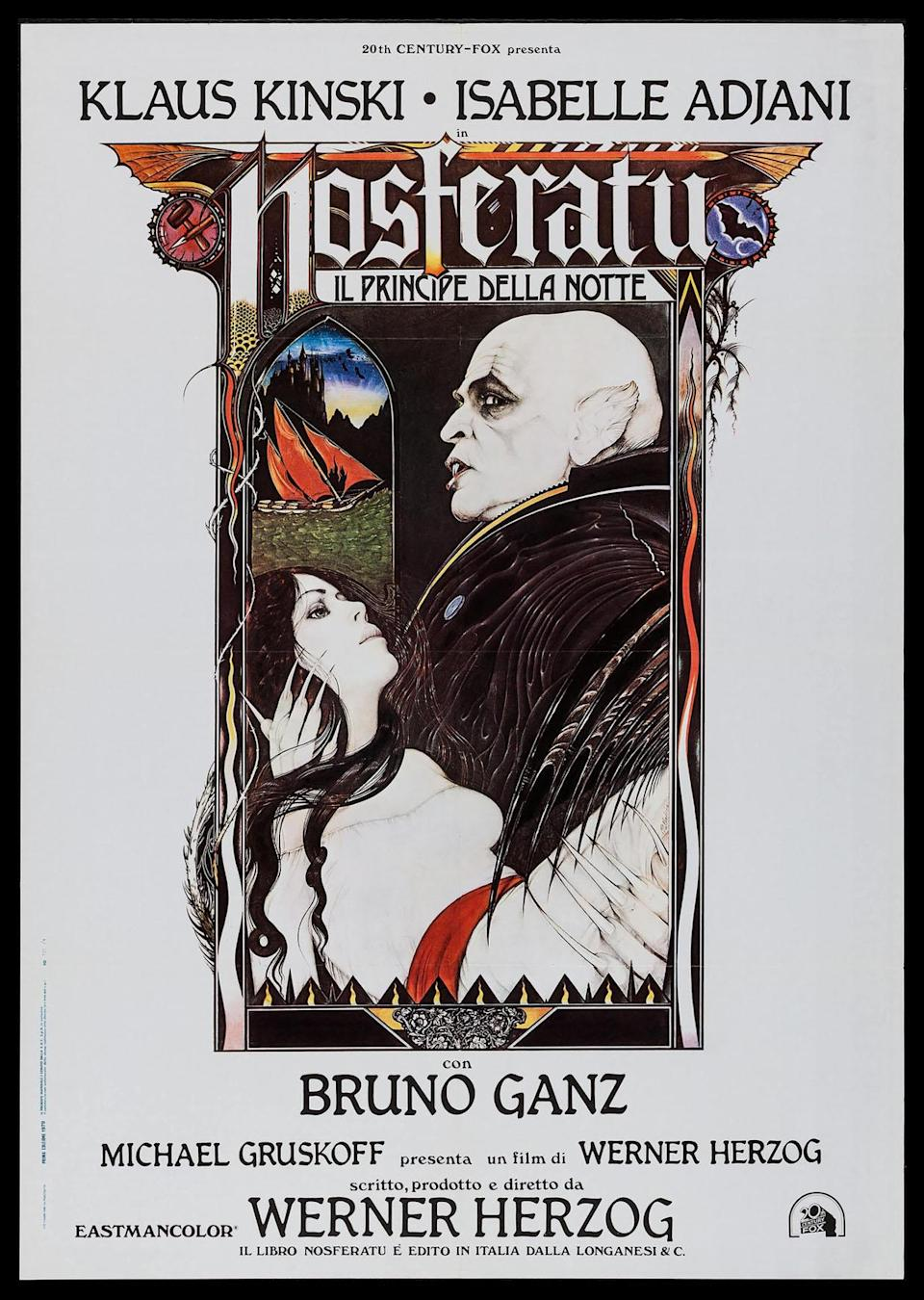 The poster for Nosferatu the Vampyre shows an illustration of the titular monster holding Isabelle Adjani as Lucy Harker