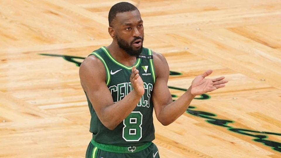 Kemba Walker with Celtics, clapping in 2021