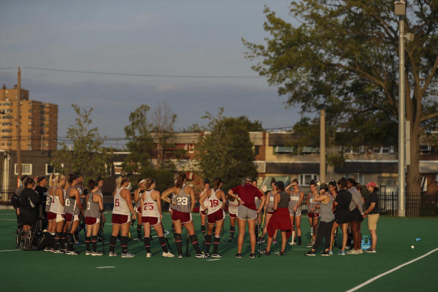 The Temple field hockey team gathers at the conclusion of their practice at Howarth Field in Philadelphia, Tuesday, Sept. 10, 2019. The team's game at Kent State on Saturday against Maine was cancelled due to pregame football fireworks. The team's game at Kent State on Saturday against Maine was cancelled due to pregame football fireworks. After the shock wore off of halting a women's field hockey game in the middle of overtime just so they could shoot off fireworks for a football game that hadn't even started, the captain of the Maine team said it's par for the course when you're a female athlete. Indeed, for all the advances created by Title IX, there's still an awful lot of hearts and minds that still need changing.(Heather Khalifa/The Philadelphia Inquirer via AP)