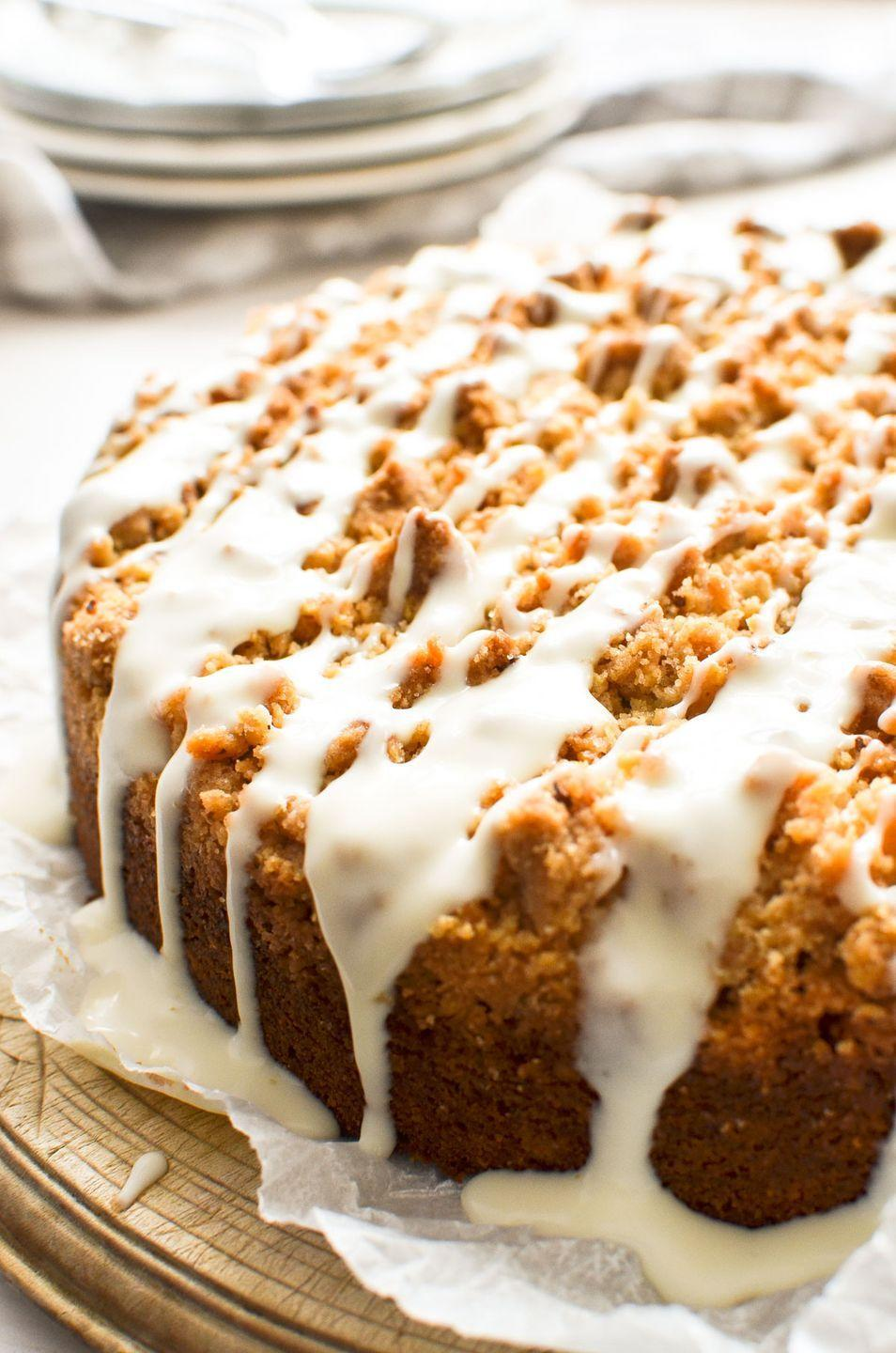 """<p>Get the <a href=""""https://theviewfromgreatisland.com/carrot-coffee-cake-recipe/"""" rel=""""nofollow noopener"""" target=""""_blank"""" data-ylk=""""slk:Carrot Coffee Cake with Cream Cheese Glaze"""" class=""""link rapid-noclick-resp"""">Carrot Coffee Cake with Cream Cheese Glaze</a> recipe.</p><p>Recipe from <a href=""""https://theviewfromgreatisland.com/"""" rel=""""nofollow noopener"""" target=""""_blank"""" data-ylk=""""slk:A View From Great Island"""" class=""""link rapid-noclick-resp"""">A View From Great Island</a>. </p>"""