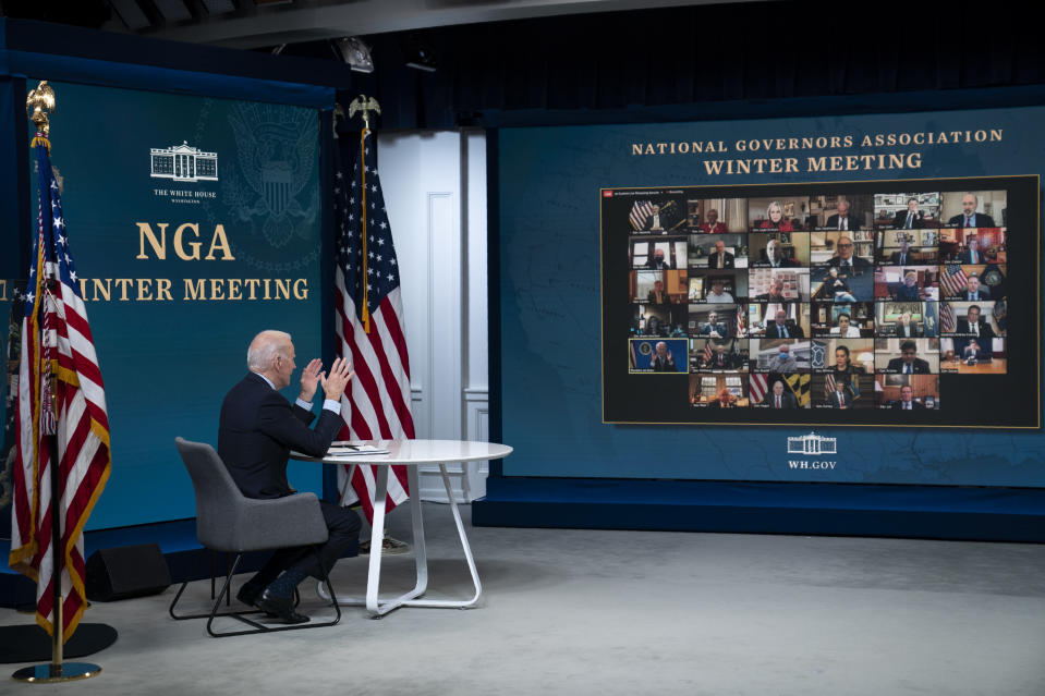 President Joe Biden speaks during a virtual meeting of the National Governors Association, in the South Court Auditorium on the White House campus, Thursday, Feb. 25, 2021, in Washington. (AP Photo/Evan Vucci)