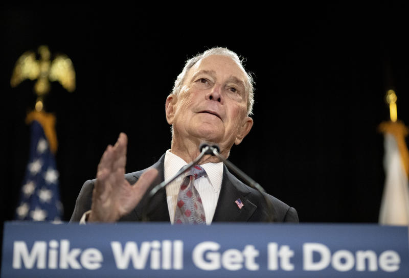 Democratic presidential candidate and former New York City Mayor Michael Bloomberg speaks at a campaign event Wednesday, Feb. 5, 2020, in Providence, R.I. (AP Photo/David Goldman)