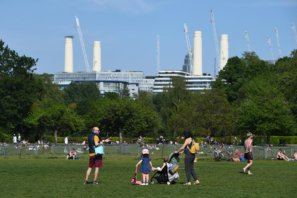 People in Battersea Park, London, as the UK continues in lockdown to help curb the spread of the coronavirus. (Photo by Kirsty O'Connor/PA Images via Getty Images)