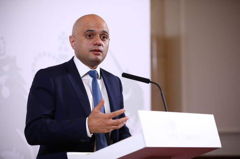 Britain's Chancellor of the Exchequer Sajid Javid delivers a statement at The Treasury in London
