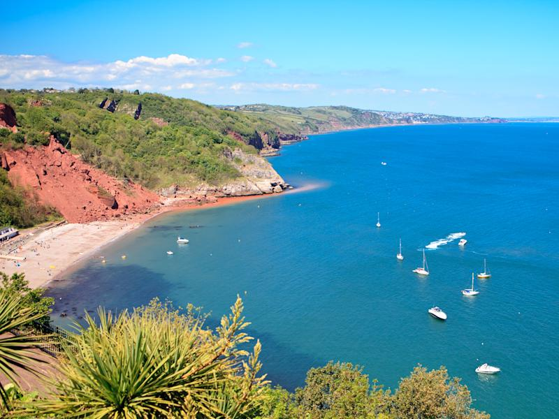 Babbacombe beach in Devon, England, View from above, sea and the coast