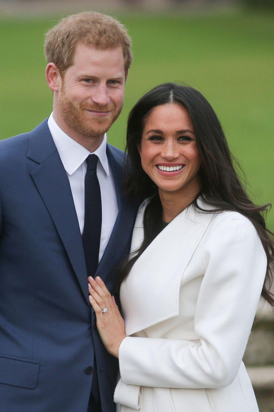 "<p>In November 2017, Prince Harry and Meghan Markle arrived hand in hand at Princess Diana's Memorial Garden in Kensington Palace to <a href=""https://www.townandcountrymag.com/society/tradition/g13936639/prince-harry-meghan-markle-engagement-photos/"" rel=""nofollow noopener"" target=""_blank"" data-ylk=""slk:announce their engagement"" class=""link rapid-noclick-resp"">announce their engagement</a>. The couple, who <a href=""https://www.townandcountrymag.com/society/a9664508/prince-harry-meghan-markle-relationship/"" rel=""nofollow noopener"" target=""_blank"" data-ylk=""slk:met through mutual friends"" class=""link rapid-noclick-resp"">met through mutual friends</a> in London in 2016, were married in St George's Chapel at Windsor Castle in May of 2018. </p>"
