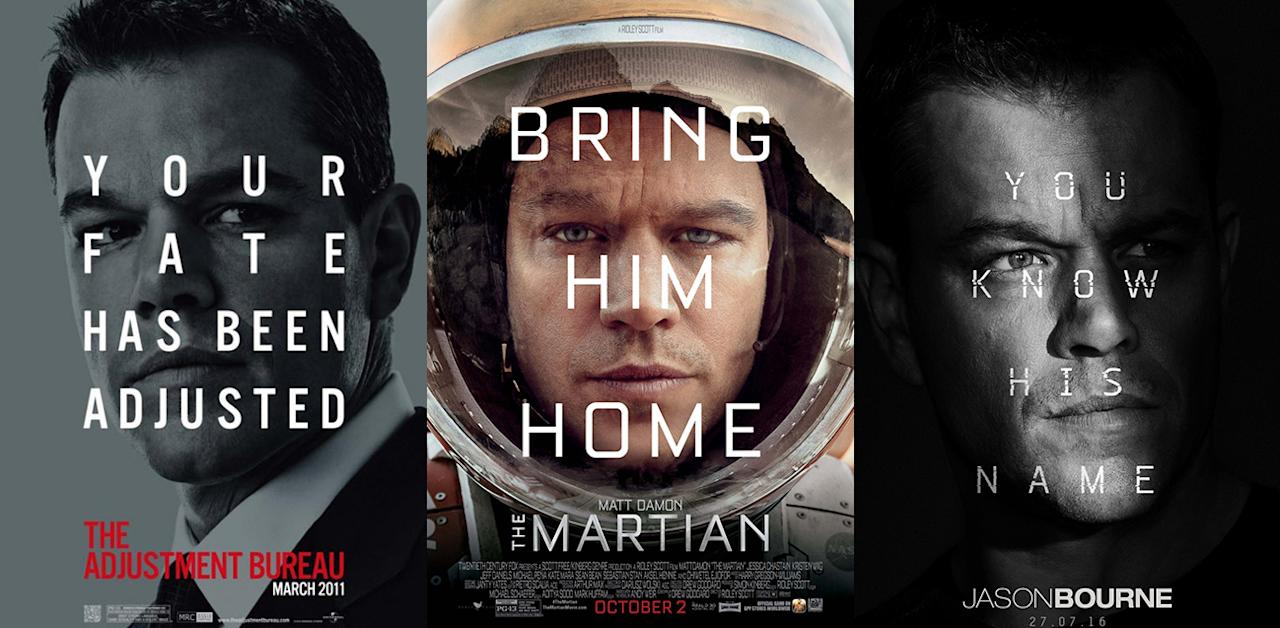 <p>Inexplicably, Matt Damon has his very own poster trend: designers can't resist scribbling words on his face, like he's a drunken student passed out on the sofa. This year's Jason Bourne reboot is the latest offender, plastering 'YOU KNOW HIS NAME' all over his face. Credit: 20th Century Fox/Universal/Warner Bros. </p>