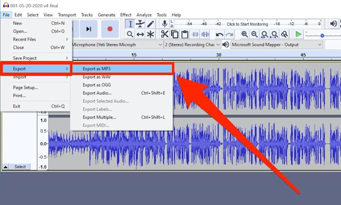Save your audio as an MP3 via the Export menu.