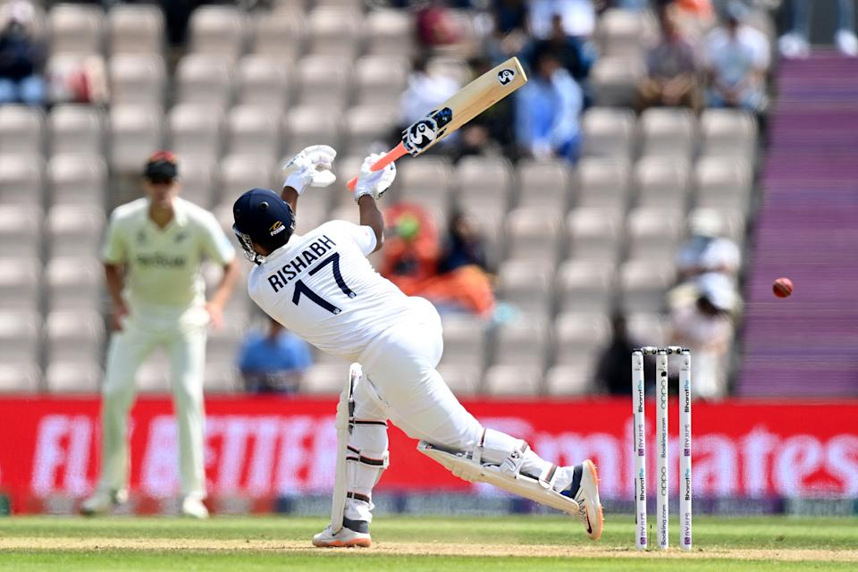 India's Rishabh Pant misses the ball as he attempts to play a shot on the final day of the ICC World Test Championship Final between New Zealand and India at the Ageas Bowl in Southampton, southwest England on June 23, 2021. - RESTRICTED TO EDITORIAL USE (Photo by Glyn KIRK / AFP) / RESTRICTED TO EDITORIAL USE (Photo by GLYN KIRK/AFP via Getty Images)