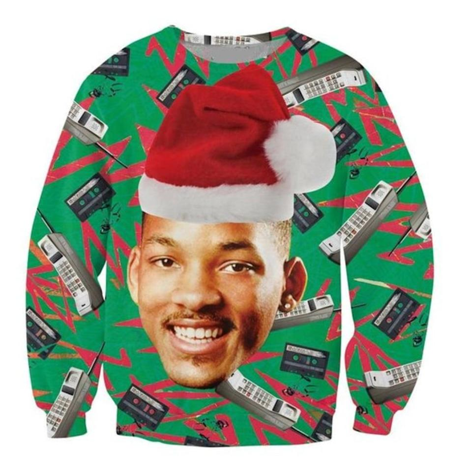 <p>This cool retro <span><strong>Fresh Prince of Bel-Air</strong> Cell Phone Ugly Christmas Sweater</span> ($20) will never get old. </p>