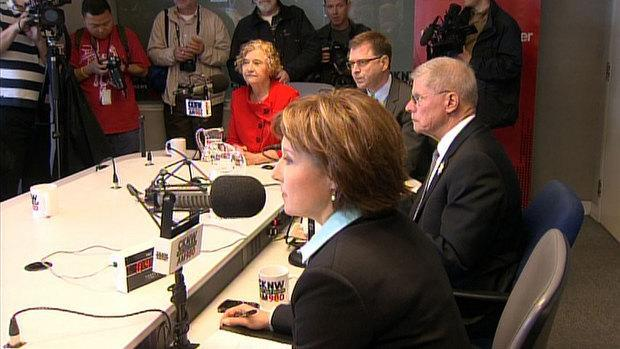 Green Party Leader Jane Sterk, Liberal Leader Christy Clark, NDP Leader Adrian Dix and Conservative Leader John Cummins vied for votes in a radio debate Friday morning.