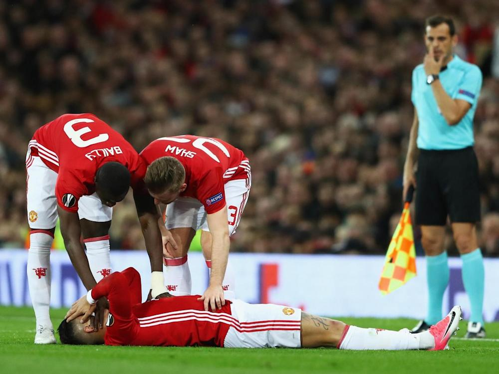 Rojo was forced off with an injury (Getty )