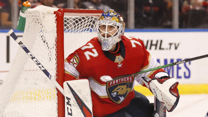 Florida Panthers goaltender Sergei Bobrovsky is shown during the first period of a preseason NHL hockey game against the Tampa Bay Lightning, Thursday, Sept. 26, 2019 in Sunrise, Fla. (AP Photo/Wilfredo Lee)