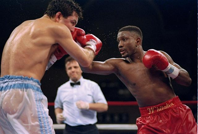 Pernell Whitaker throws a punch at Julio Cezar Vasquez during a fight. Mandatory Credit: Simon Bruty /Allsport