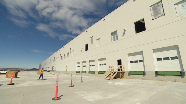 The new Amazon distribution facility in Balzac. Lower taxes and land values are some of the factors driving industrial development in Rocky View County. (Monty Kruger/CBC - image credit)