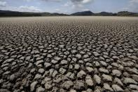 After years of very little rainfall, the lakebed of Suesca lagoon sits dry and cracked, in Suesca, Colombia, Wednesday, Feb. 17, 2021. The basin which is dependent on runoff has suffered severe deforestation and erosion, which together with the added impact of climate change has led to a significant reduction of its water level. (AP Photo/Fernando Vergara)