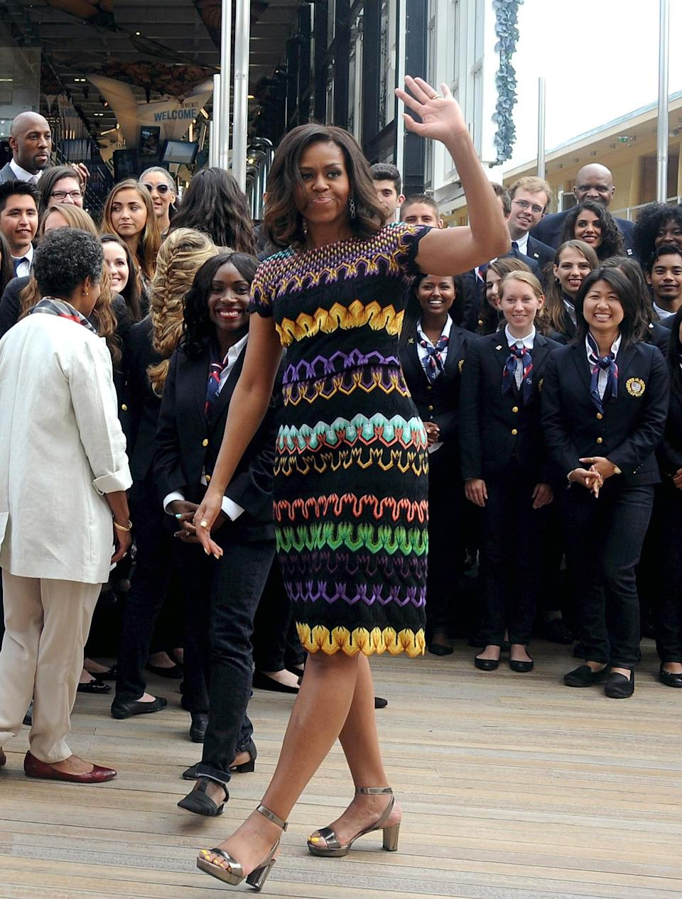 <p>When in Milan, dress as the Milanese do — in Missoni, of course! The American paid tribute to the bright brand by wearing a shift dress in ROYGBV. </p>