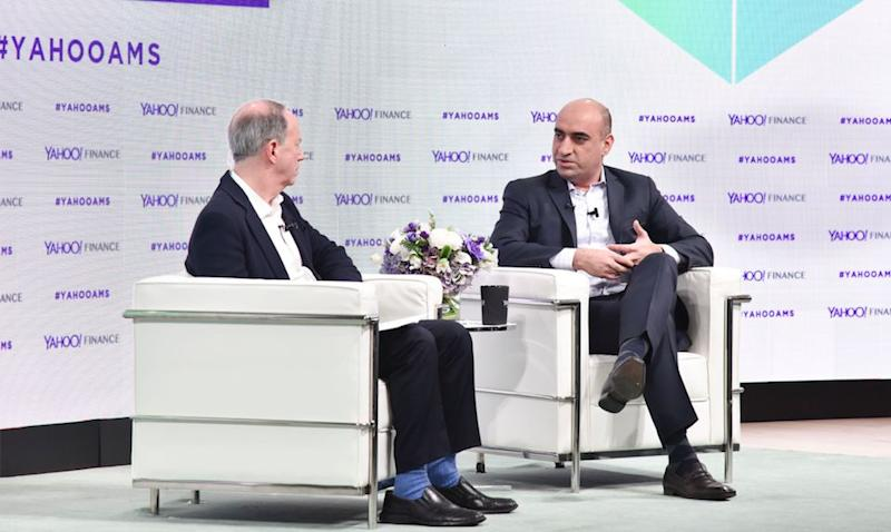 JP Morgan Chase head of blockchain Umar Farooq (R) speaks to Yahoo Finance editor in chief Andy Serwer at the Yahoo Finance All Markets Summit: Crypto on Feb. 7, 2018 in New York. (Gino DePinto/Oath)