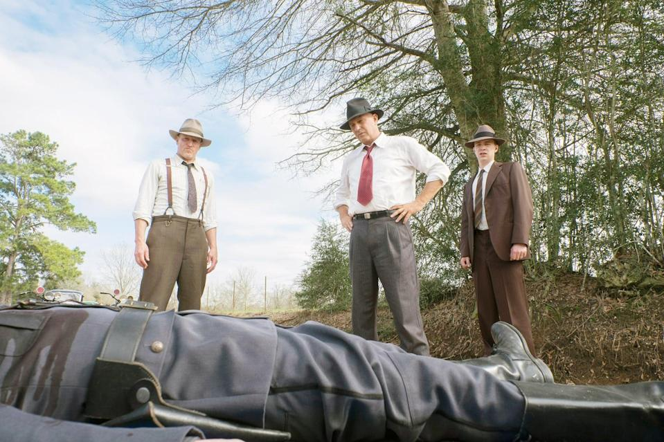 """<p>Former Texas rangers Frank Hamer and Maney Gault take on capturing the infamous Bonnie and Clyde in a drama that's based on a true story.</p> <p><a href=""""http://www.netflix.com/title/80200571"""" class=""""link rapid-noclick-resp"""" rel=""""nofollow noopener"""" target=""""_blank"""" data-ylk=""""slk:Watch The Highwaymen on Netflix now."""">Watch <strong>The Highwaymen</strong> on Netflix now.</a></p>"""
