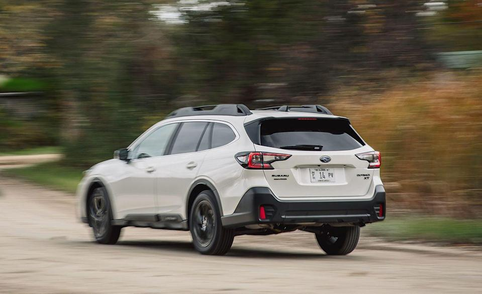 """<p>The <a href=""""https://www.caranddriver.com/subaru/outback"""" rel=""""nofollow noopener"""" target=""""_blank"""" data-ylk=""""slk:Subaru Outback"""" class=""""link rapid-noclick-resp"""">Subaru Outback</a> is the wagon that sells. Over 153,000 Outbacks sold last year, while other wagons like the <a href=""""https://www.caranddriver.com/buick/regal-tourx"""" rel=""""nofollow noopener"""" target=""""_blank"""" data-ylk=""""slk:Buick Regal TourX"""" class=""""link rapid-noclick-resp"""">Buick Regal TourX</a>, <a href=""""https://www.caranddriver.com/jaguar/xf-sportbrake"""" rel=""""nofollow noopener"""" target=""""_blank"""" data-ylk=""""slk:Jaguar XF Sportbrake"""" class=""""link rapid-noclick-resp"""">Jaguar XF Sportbrake</a>, and even the <a href=""""https://www.caranddriver.com/ford/flex"""" rel=""""nofollow noopener"""" target=""""_blank"""" data-ylk=""""slk:Ford Flex"""" class=""""link rapid-noclick-resp"""">Ford Flex</a> have all gone the way of the cotton bonnet. The Outback is just the wagon version the Legacy, so <a href=""""https://www.iihs.org/ratings/vehicle/subaru/outback-4-door-wagon/2021"""" rel=""""nofollow noopener"""" target=""""_blank"""" data-ylk=""""slk:the safety ratings"""" class=""""link rapid-noclick-resp"""">the safety ratings</a> are identical. </p><p><a class=""""link rapid-noclick-resp"""" href=""""https://www.caranddriver.com/reviews/a28531970/2020-subaru-outback-drive/"""" rel=""""nofollow noopener"""" target=""""_blank"""" data-ylk=""""slk:OUTBACK TESTED"""">OUTBACK TESTED</a> 