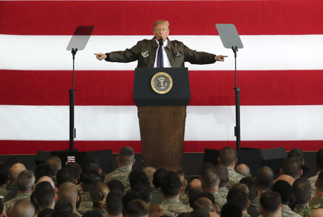 <p>President Donald Trump delivers a speech for the U.S. troops at the U.S. Yokota Air Base, on the outskirts of Tokyo, Sunday, Nov. 5, 2017. (Photo: Eugene Hoshiko/AP) </p>
