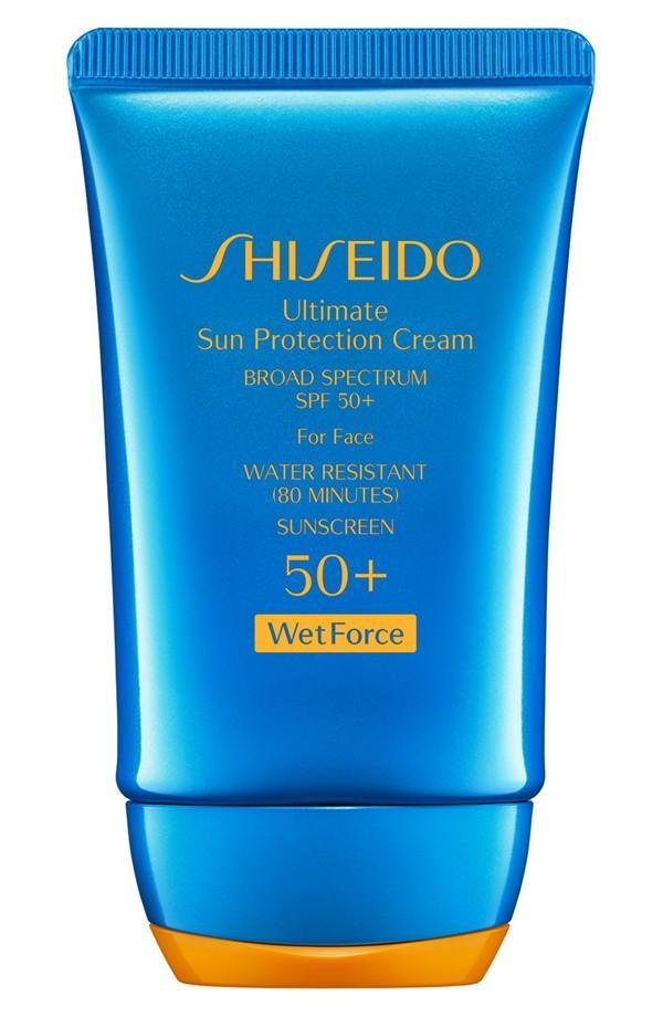 """<p>Shiseido Wetforce Ultimate Sun Protection Cream Broad Spectrum SPF 50+ for Face Water is the enemy for most sunscreens, but this innovative formula actually activates when wet. Ideal for active days in a beach, pool, or lake, this water-resistant sunscreen also includes beneficial skin ingredients. <br><br><a rel=""""nofollow noopener"""" href=""""http://www.shiseido.com/ultimate-sun-protection-cream-spf-50-wetforce/0730852114852,en_US,pd.html"""" target=""""_blank"""" data-ylk=""""slk:Shiseido Wetforce Ultimate Sun Protection Cream Broad Spectrum SPF 50+ for Face"""" class=""""link rapid-noclick-resp"""">Shiseido Wetforce Ultimate Sun Protection Cream Broad Spectrum SPF 50+ for Face</a> ($36)</p>"""
