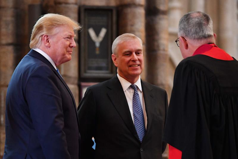 LONDON, ENGLAND - JUNE 03: Prince Andrew, Duke of York smiles with US President Donald Trump (L) and Dean of Westminster John Hall (R) during the visit to Westminster Abbey on June 03, 2019 in London, England. President Trump's three-day state visit will include lunch with the Queen, and a State Banquet at Buckingham Palace, as well as business meetings with the Prime Minister and the Duke of York, before travelling to Portsmouth to mark the 75th anniversary of the D-Day landings. (Photo by Jeff J Mitchell/Getty Images)