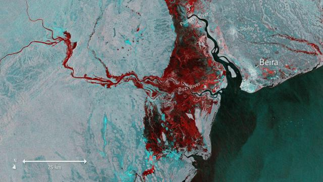 This Tuesday, March 19, 2019 photo taken from Copernicus Sentinel-1 and provided by the European Space Agency, ESA, shows the extent of flooding, depicted in red, around the port town of Beira in Mozambique. following cyclone force winds and heavy rain near the coastal city. (ESA via AP)