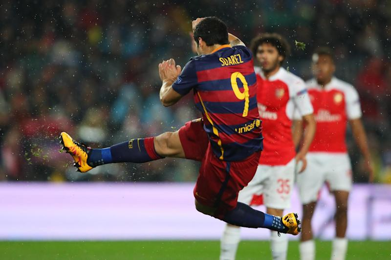 Suarez scoring against Arsenal in March 2016... but he could have been playing for them: Getty Images