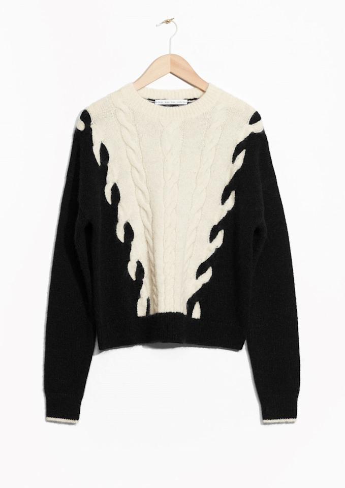 "<p><a href=""http://www.stories.com/gb/Ready-to-wear/Knitwear/Sweaters/Chain_Stitch_Knit/114066436-124966528.1"">& Other Stories</a>, £65</p>"