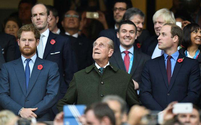 Prince Harry, Prince Philip and Prince William, pictured together at the 2015 Rugby World Cup final at Twickenham - Toby Melville/Reuters