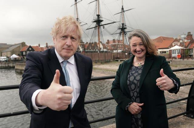 Prime Minister Boris Johnson and newly elected MP Jill Mortimer at Jacksons Wharf in Hartlepool, County Durham, following Ms Mortimer's victory in the Hartlepool parliamentary by-election
