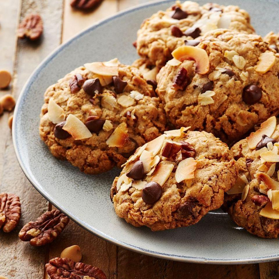 """<p>These Delish Cowboy Cookies adhere to the philosophy """"more is more."""" Stuffed with chocolate chips, peanut butter chips, oats, coconut, and pecans, it's definitely a theory we can get behind.</p><p><em><a href=""""https://www.delish.com/cooking/recipe-ideas/a30222785/cowboy-cookies-recipe/"""" rel=""""nofollow noopener"""" target=""""_blank"""" data-ylk=""""slk:Get the recipe from Delish »"""" class=""""link rapid-noclick-resp"""">Get the recipe from Delish »</a></em></p>"""