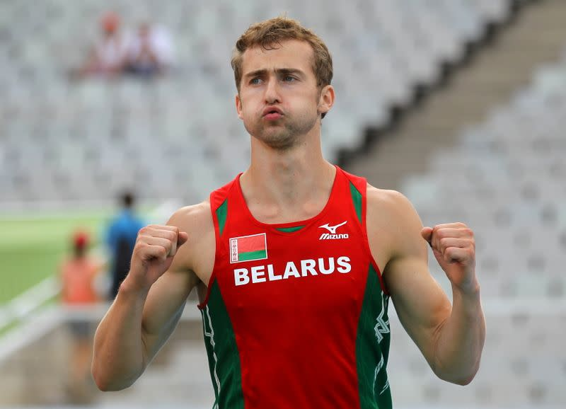 FILE PHOTO: Krauchanka of Belarus reacts during the pole vault event of the men's decathlon at the at the European Athletics Championships in Barcelona