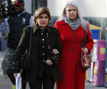 Jackson and her attorney Allred walk to attend the sentencing hearing for former San Diego Mayor Filner in San Diego