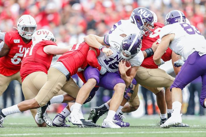 "<span class=""caption"">Games are set to resume this October.</span> <span class=""attribution""><a class=""link rapid-noclick-resp"" href=""https://www.gettyimages.com/detail/news-photo/northwestern-quarterback-hunter-johnson-is-sacked-during-a-news-photo/1171804610?adppopup=true"" rel=""nofollow noopener"" target=""_blank"" data-ylk=""slk:Lawrence Iles/Icon Sportswire via Getty Images"">Lawrence Iles/Icon Sportswire via Getty Images</a></span>"