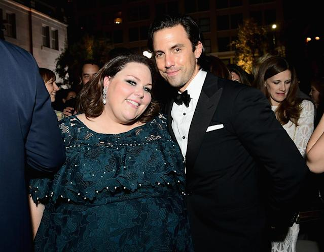 <p>Chrissy Metz and Milo Ventimiglia attended the after-party for the Fox Broadcasting Co., Twentieth Century Fox Television, FX, and <em>National Geographic</em> at Vibiana. (Photo: Emma McIntyre/Getty Images) </p>