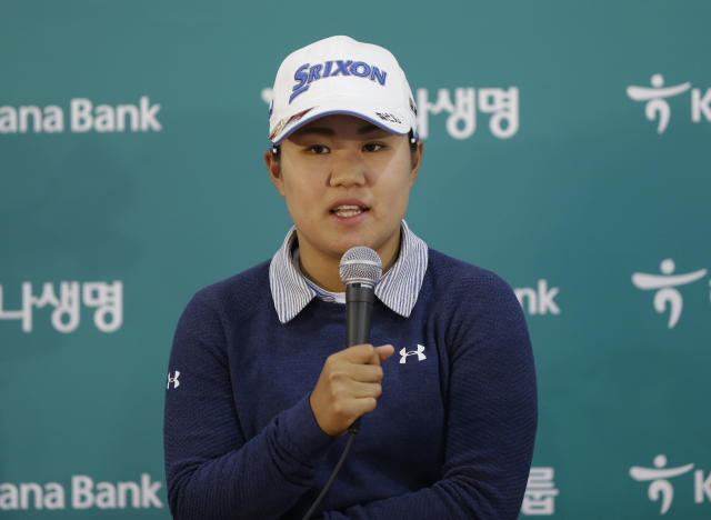Nasa Hataoka of Japan speaks during a press conference after finishing the first round of the LPGA KEB HanaBank Championship at Sky72 Golf Club in Incheon, South Korea, Thursday, Oct. 11, 2018. (AP Photo/Ahn Young-joon)