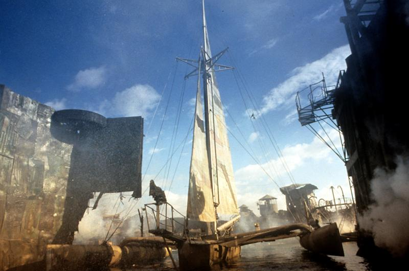 The ship docks in a scene from the film 'Waterworld', 1995. (Photo by Universal/Getty Images)