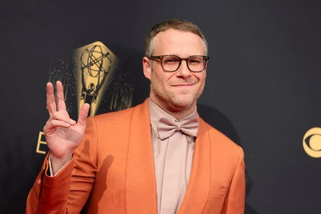 Seth Rogen posing on the Emmys red carpet (Photo: Rich Fury via Getty Images)