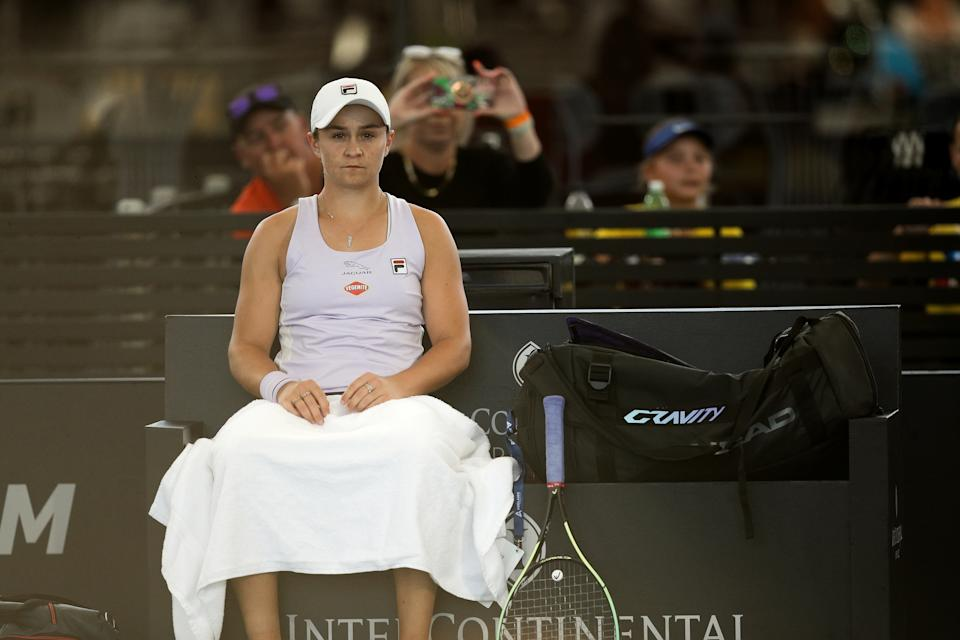 Ash Barty (pictured) sitting between points at the Adelaide International tennis tournament at Memorial Drive.