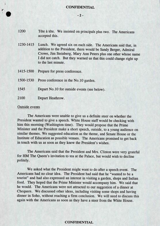 Embargoed to 0001 Tuesday July 20 Handout image issued by the National Archives of memos across Downing Street aides in May 1997 discussing the visit of US President Bill Clinton. Issue date: Tuesday July 20, 2021.