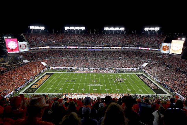 """TAMPA, FL – JANUARY 09: A general view during the first quarter of the 2017 College Football Playoff National Championship Game between the <a class=""""link rapid-noclick-resp"""" href=""""/ncaab/teams/aaf/"""" data-ylk=""""slk:Alabama Crimson Tide"""">Alabama Crimson Tide</a> and the <a class=""""link rapid-noclick-resp"""" href=""""/ncaab/teams/cbg/"""" data-ylk=""""slk:Clemson Tigers"""">Clemson Tigers</a> at Raymond James Stadium on January 9, 2017 in Tampa, Florida. (Photo by Tim Bradbury/Getty Images)"""