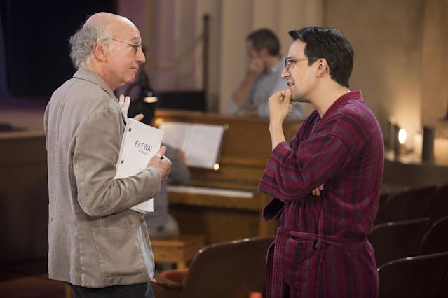 "Larry David and Lin-Manuel Miranda on ""Curb Your Enthusiasm."" (Photo: HBO)"