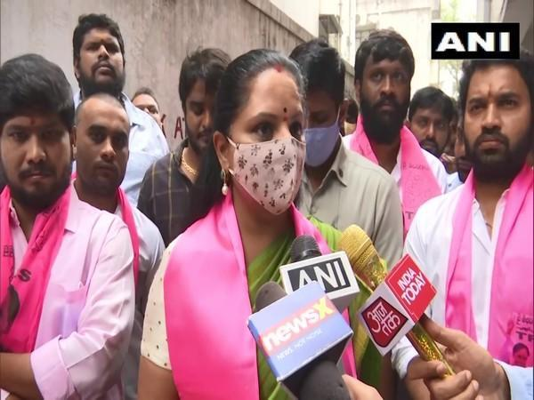 TRS MLC Kalvakuntla Kavitha speaking to media in Hyderabad on Thursday. (Photo/ANI)