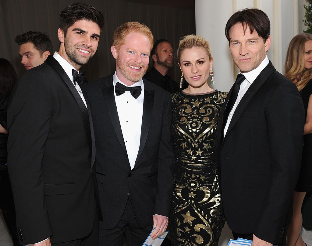 Justin Mikita, Jesse Ferguson, Anna Paquin and Stephen Moyer attend the 2012 Elton John AIDS Foundation Academy Awards Party in Los Angeles, CA.
