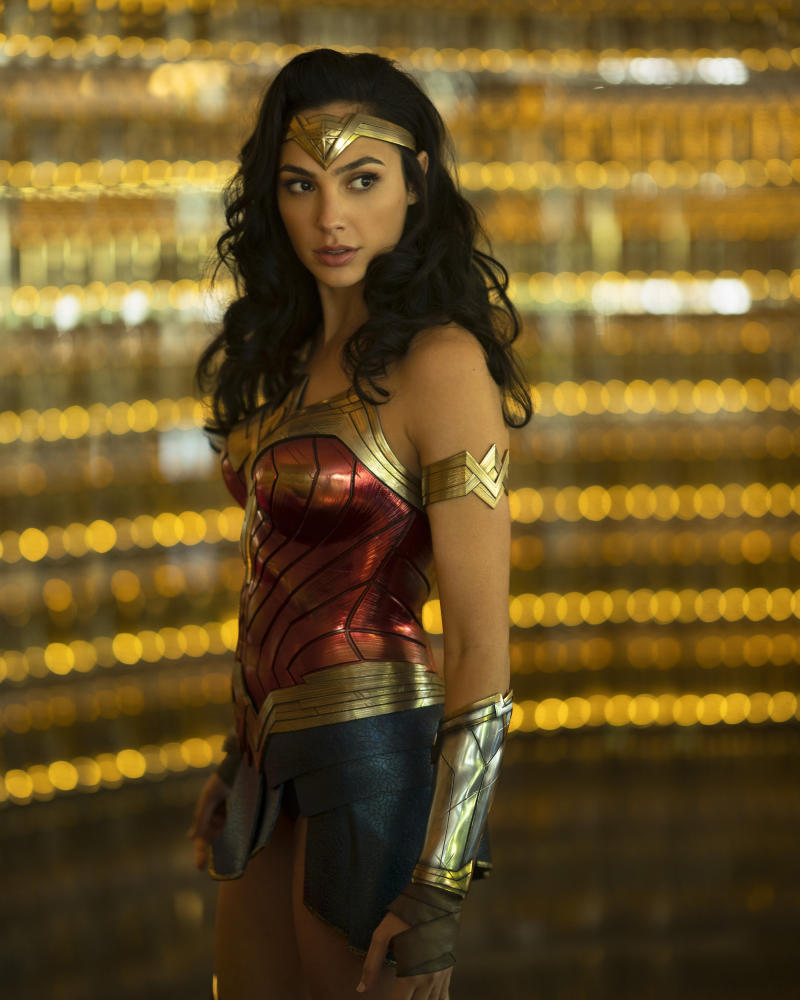 "Gadot in the upcoming film, ""Wonder Woman 1984."" Image via Splash News."
