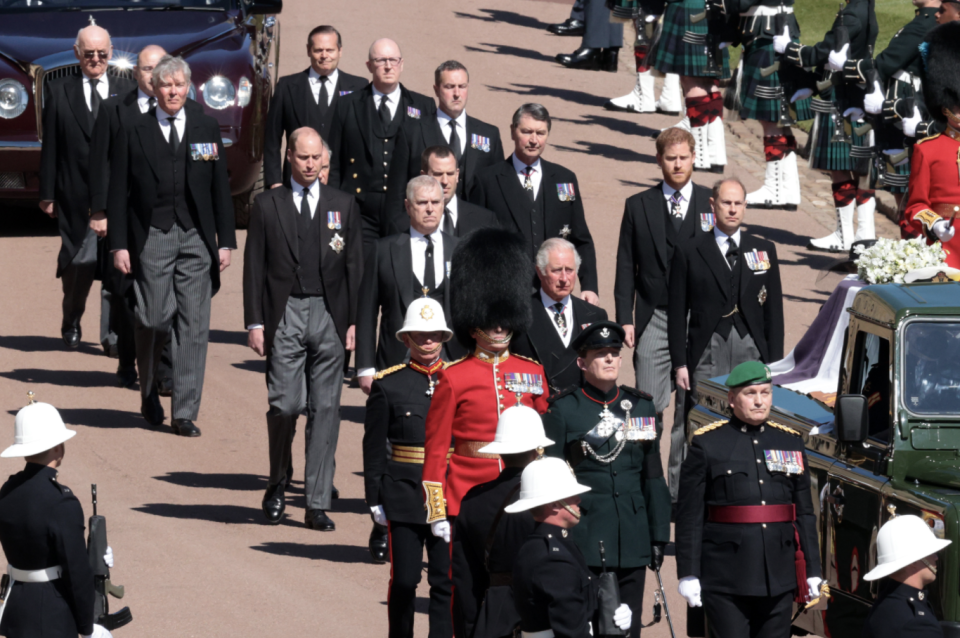 Prince Charles led the Royal Family behind his father's coffin. Picture: Getty