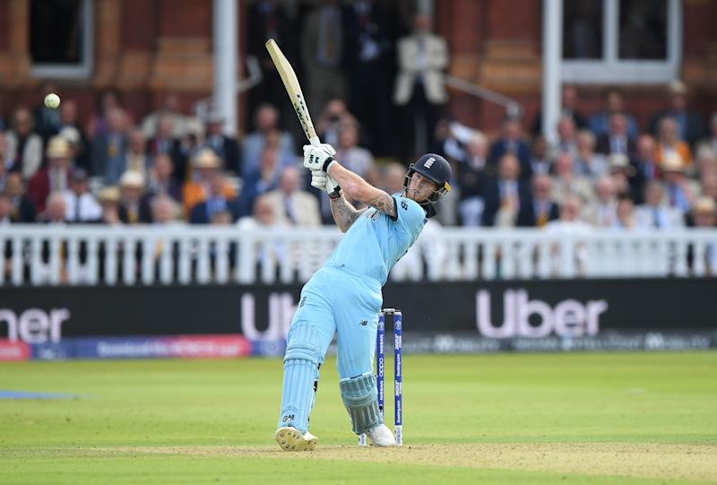LONDON, ENGLAND - JULY 14: England batsman Ben Stokes hits out during the Final of the ICC Cricket World Cup 2019 between New Zealand and England at Lord's Cricket Ground on July 14, 2019 in London, England. (Photo by Stu Forster-ICC/ICC via Getty Images)