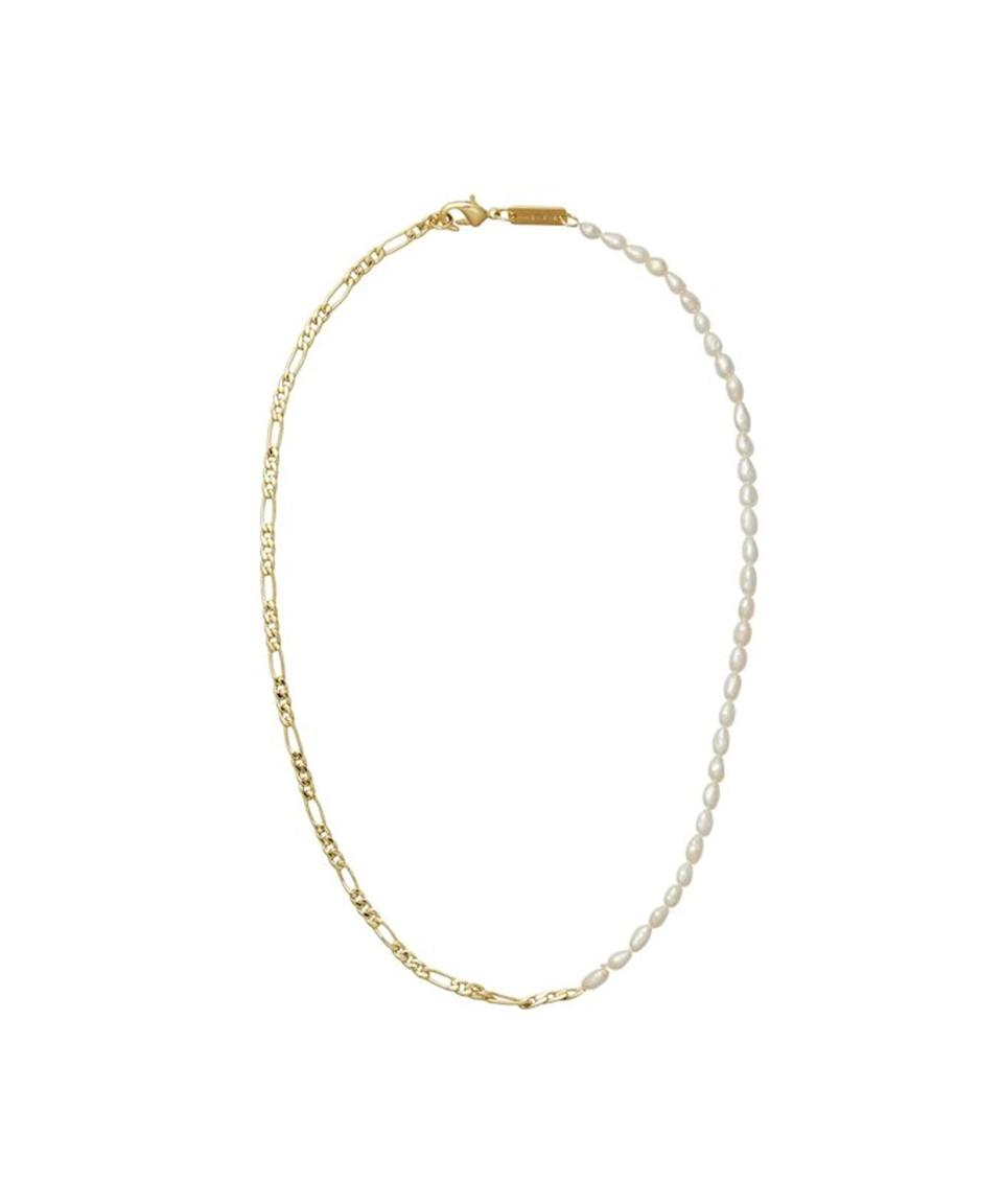 """<strong><h2>Pearl necklaces — with a twist</h2></strong>""""Inspired by one <a href=""""https://www.refinery29.com/en-us/2020/10/10059938/pearl-necklace-fashion-trend-symbolism"""" rel=""""nofollow noopener"""" target=""""_blank"""" data-ylk=""""slk:Harry Styles"""" class=""""link rapid-noclick-resp"""">Harry Styles</a>, I began to wear pearl necklaces again this summer. I have especially taken to styles that mix the traditional gemstone with more modern chains and gold detailing. My current favorites include Missoma's<a href=""""https://www.missoma.com/products/baroque-twisted-link-necklace?variant=39391189598252"""" rel=""""nofollow noopener"""" target=""""_blank"""" data-ylk=""""slk:Baroque Pearl Twisted Link Necklace"""" class=""""link rapid-noclick-resp""""> Baroque Pearl Twisted Link Necklace</a> and Machete's (now-sold-out) <a href=""""https://www.garmentory.com/sale/machete/necklaces-chain-delicate/1152725-petite-figaro-plus-rice-pearl-necklace"""" rel=""""nofollow noopener"""" target=""""_blank"""" data-ylk=""""slk:Petite Figaro & Rice Pearl Necklace"""" class=""""link rapid-noclick-resp"""">Petite Figaro & Rice Pearl Necklace</a>."""" — <em>IG</em>"""